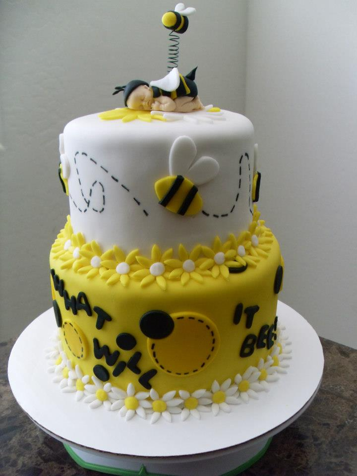 bee themed reveal cake