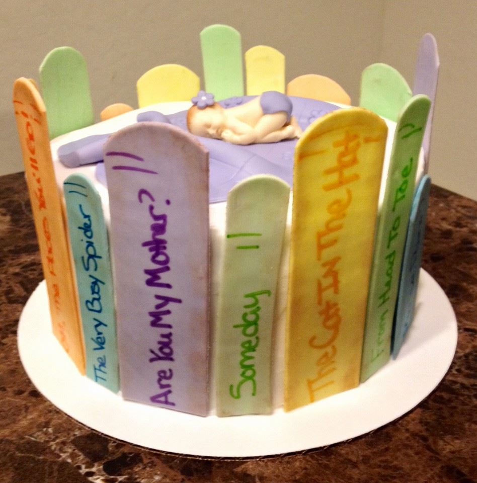 book themed baby shower cake