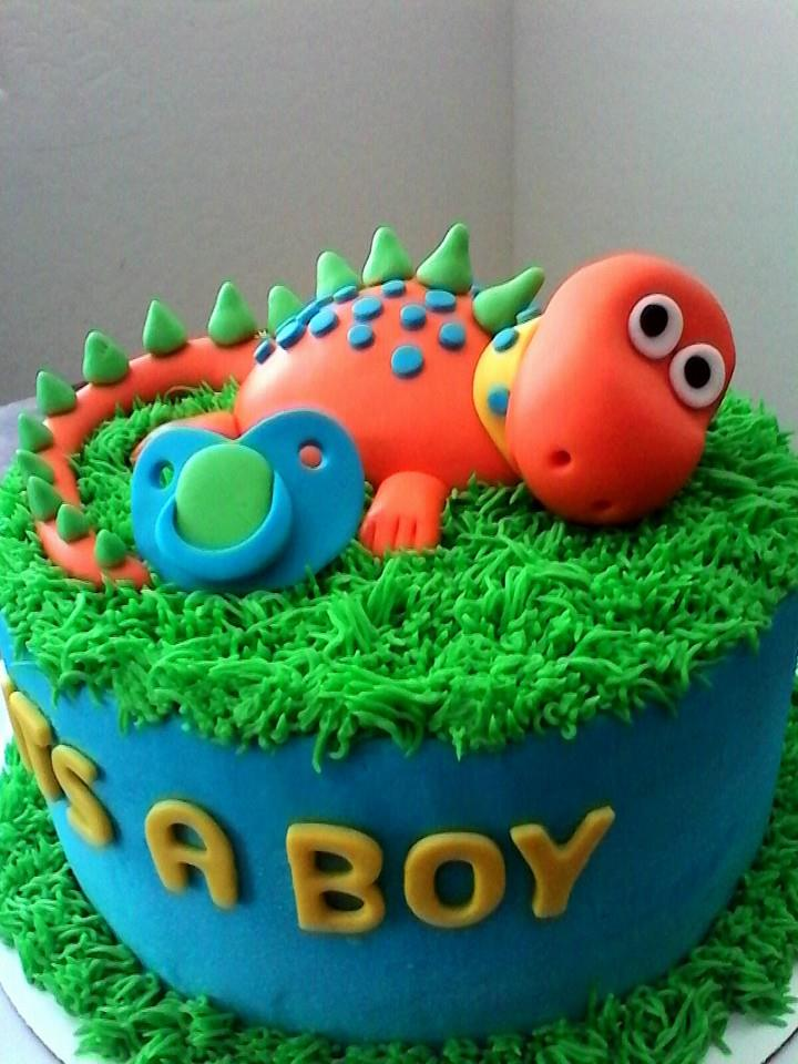 Red Baby Dinosaur Baby Shower Cake - Lovebug's Edible Designs
