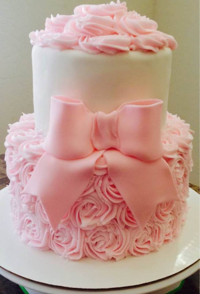 Pink Flowers And Ribbons Baby Shower Cake Lovebugs Edible Designs