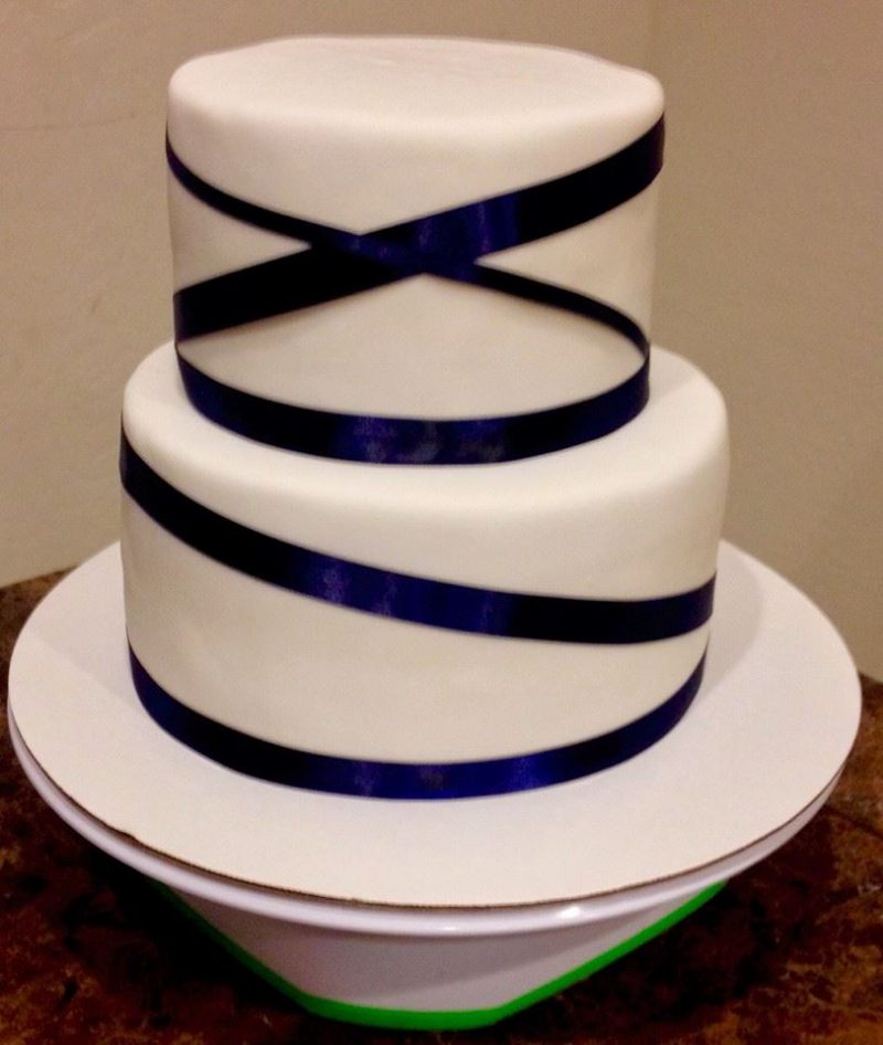 Royal Blue Ribbon Wedding Cake Lovebug S Edible Designs